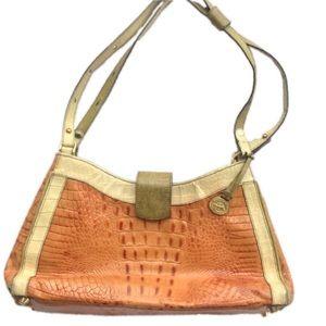 Brahmin leather croc embossed shoulder bag